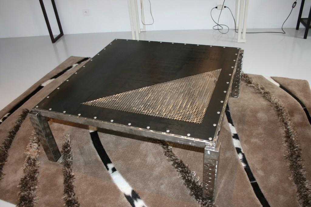 Table basse, en acier et inox, L'Atelier de Jérôme